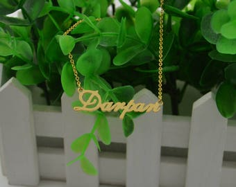 Name necklace gold-name plate necklace-custom name jewelry-2017 Christmas ornaments-gifts for everyone