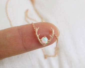 Tiny Rose Gold Antler with Opal Stone Charm Necklace,Rose Gold Antler Necklace,Opal Stone Necklace, Birthday Gift,7013