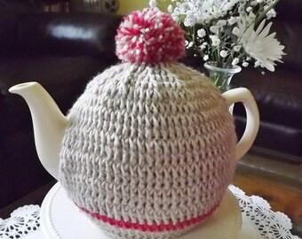 Beige Tea Cozy, Oatmeal Tea Cozy, Red Striped Cozy, Crochet Teapot  Cozy, Teapot Cozy, Tea Pot Cozy, Tea Pot Hat