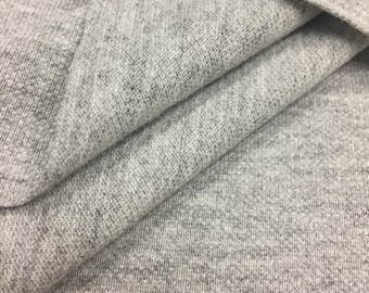 Cotton Pique Knit Fabric (Wholesale Price Available By the Bolt) USA Made Premium Quality - 7268H5 Heather Grey - 1 Yard