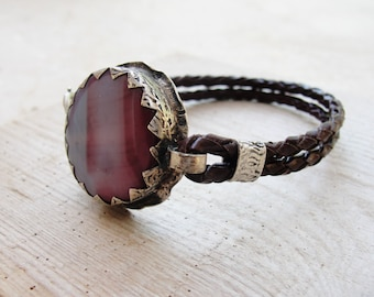 Leather Agate Bracelet - Rustic Gemstone Jewelry Leather and Metal