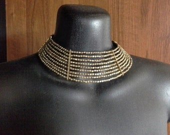 Vintage Egyptian Style Brass Metal Beaded Choker Collar Cuff Necklace 9 Rows