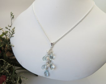 Aquamarine Necklace With Clustered Pearls- Wire Wrapped Cascade Necklace- March Birthstone- Blue Gemstone Necklace In Sterling- 15-22 Inches
