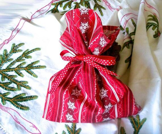 Snowflake Cloth Gift Bag Gift Wrapping Snowflake Pattern 9