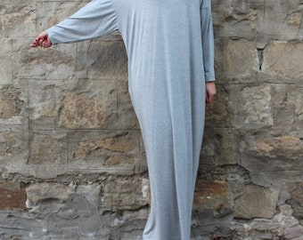 Grey Maxi dress, Plus size dress, Caftan, Oversized dress, Abaya, Kaftan, Summer dress, Summer maxi dress, Long sleeve maxi, long dress