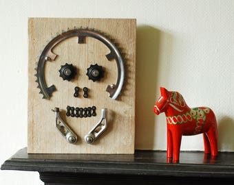 Skull made from recycled bicycle parts