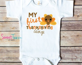 My First Thanksgiving Shirt Turkey Baby Bodysuit Personalized My 1st Thanksgiving Boy Girl