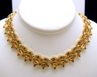 Stunning Vintage Crown Trifari Necklace Light Dark Brown Rhinestones