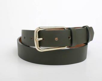 Leather Belt, Green Leather Belt, Dark Green Leather Belt, Womens Belt