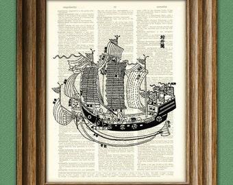 Asian Junk Sail boat beautifully upcycled vintage dictionary page book art print