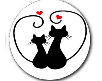a couple cat and heart, 20mm cabochon