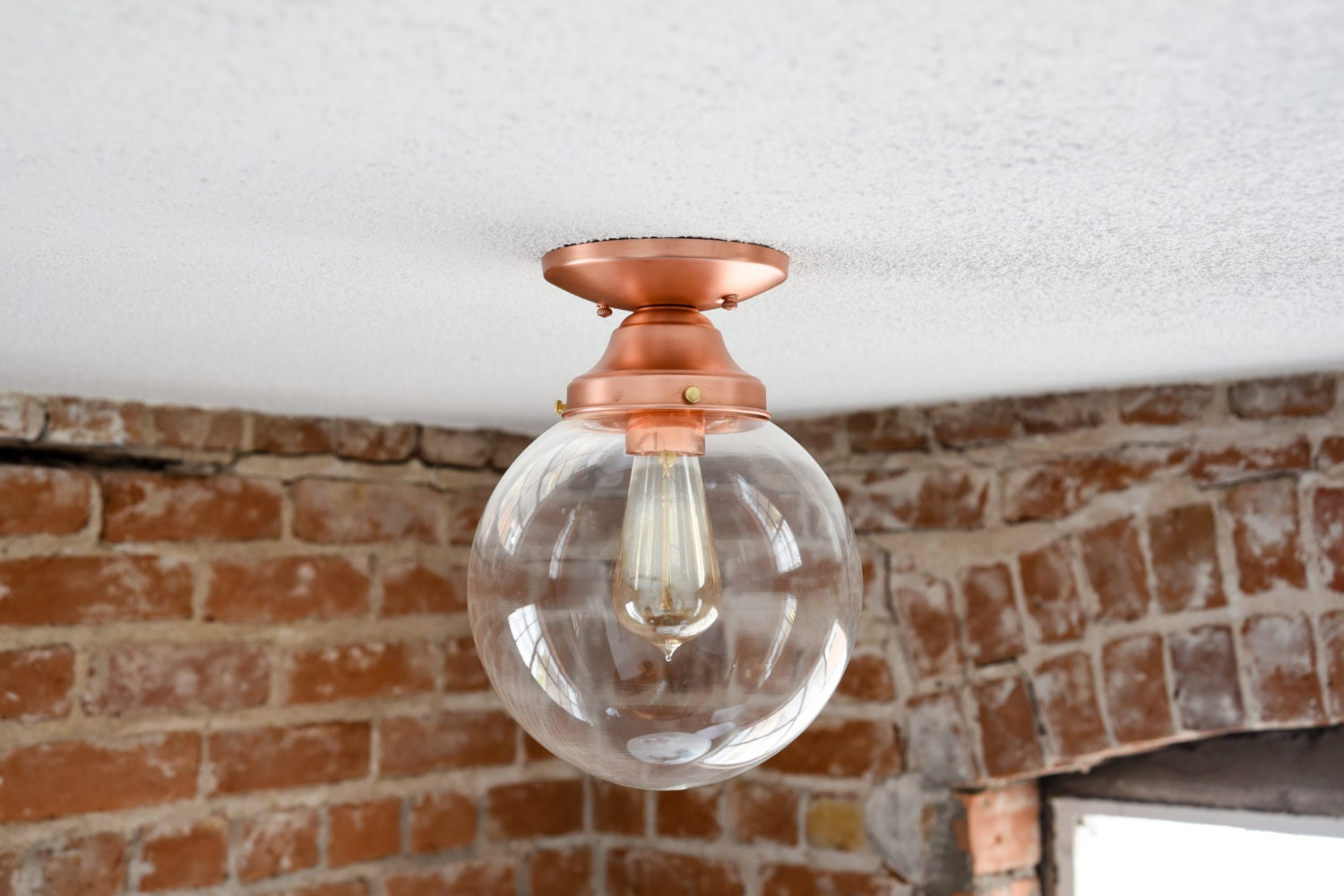 Semi flush solid copper 8 in clear glass globe flush mount semi flush solid copper 8 in clear glass globe flush mount industrial modern ceiling lighting edison aloadofball Gallery