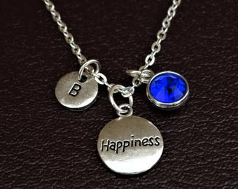 Happiness Necklace, Happiness Charm, Happiness Pendant, Happiness Jewelry, Happiness Quotes, Inspirational Necklace, Inspirational Jewelry