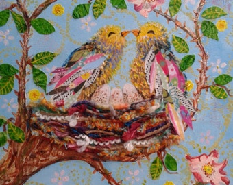 Love Birds- Mixed Media, Acrylic and Collage Painting on Canvas 46x36cm
