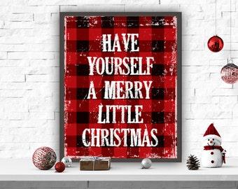 Christmas Printable Art Christmas Art Print Wall Decor Red Plaid Christmas DIY Christmas Have Yourself A Merry Little Christmas