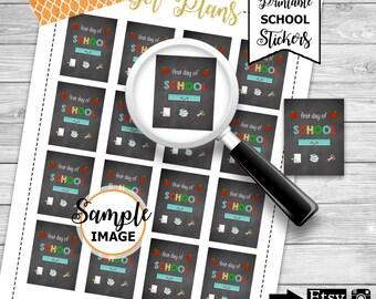 First Day Of School Stickers, School Planner Stickers, Printable School Stickers, School Agenda Stickers, Scrapbook Stickers