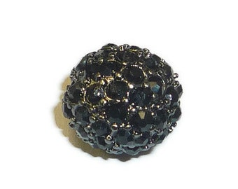 Beadelle Jet / Gunmetal Plate Crystal Pave Round Big Hole Bead (10mm)