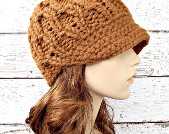 Knit Hat Womens Hat Brown Newsboy Hat - Amsterdam Beanie with Visor Hazelnut Brown Knit Hat Brown Hat Womens Accessories - READY TO SHIP