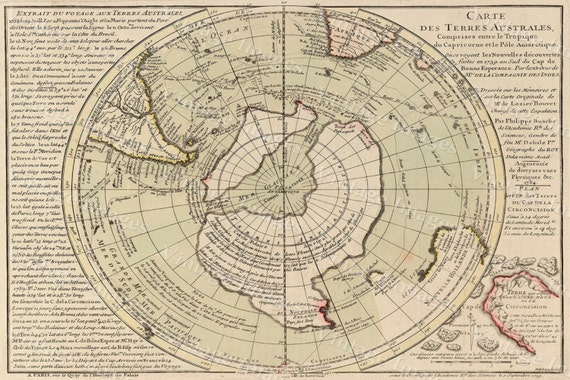 Old map of South Pole - Antarctica map, Historic South Pole Map Antique Restoration decor Style Antarctica wall Map Fine Art Print Poster