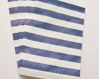 "Set of 10 NAVY and White Horizontal Stripe Design Middy Bitty Bags (5"" x 7.5"")"