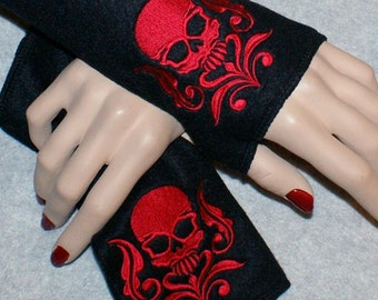 Embroidered Damask Skull Soft Fleece Arm Warmers fingerless gloves Red Black MTCoffinz