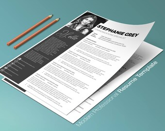Modern Resume Template / Modern CV Template | Easy to Edit Resume Template Word + Cover Letter | Two Page Resume Template Instant Download