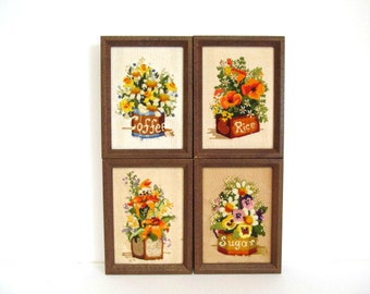 Embroidery Flowers in Canisters Framed Picture, Country Kitchen Wildflowers, Vintage Needle Yarn Stitchery