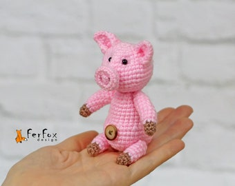 Miniature pig stuffed animal Collectible miniature farm animal Tiny pig Stuffed piglet Plush pig toy Stuffed pig lover gift Pig figurine