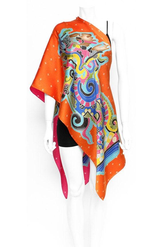 Elegant tribal Mayan Vision Serpent hand painted silk.