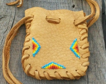 Beaded medicine bag ,  Leather drawstring pouch ,  Beaded fetish bag , Drawstring pouch