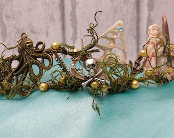 Shell crown, mermaid crown, fantasy crown, nautical headpiece, steampunk, Triton, seashell crown, sea queen, mermaid festival, rustic crowns