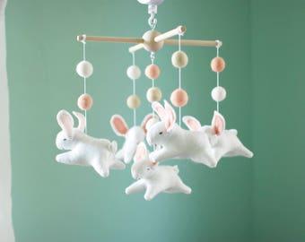 Bunny mobile, bunnies mobile, rabbit, felt mobile, felted mobile, baby crib mobile, woodland nursery, pink mobile, cot mobile