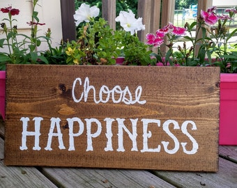Choose Happiness Sign, Hanging Wooden Happiness Sign, Rustic Wooden Choose Happiness Sign, Choose Happiness, Home Decor, Wood Signs