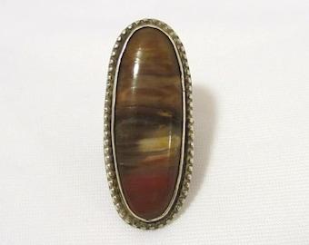 Vintage Sterling Silver Natural Jasper Long Ring Size 6.5
