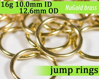 16g 10.0 mm ID 12.6 mm OD NuGold brass jump rings -- 16g10.00 jumprings