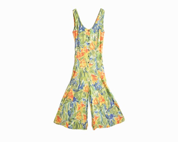 Vintage 90s Wide Leg Floral Print Jumpsuit in Green & Orange - Women's US 6