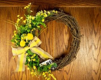 Del's wreath, Lemonade wreath, Lemon wreath, Summer wreath, Spring wreath, New England wreath, Front door wreath, Yellow wreath, Rustic