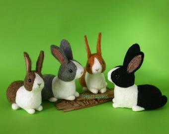 Clarabelle bunnies Dutch rabbit needle felt animal art doll pet