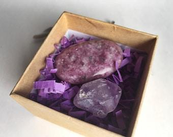 Sleep Aid Crystal Bundle / Elestial Amethyst & Lepidolite