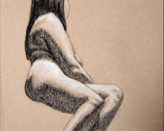 "Female Figure Drawing - Seated Nude Female Figure - original drawing, charcoal and pastel on toned paper, 9x12 ""Amanda"""