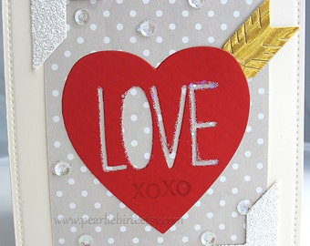 XOXO Love Blank Tag Card-cream-grey-red-white-heart-arrow-pretty packaging-Anniversary-Wedding
