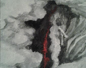 Abstract painting black red and white