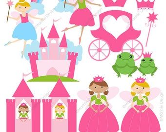 Princess Clipart, Fairytale Clip Art, Cute Princess Graphics for Birthday Party Invitations Scrapbook INSTANT DOWNLOAD CLIPARTS C62