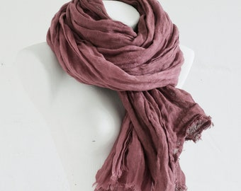Linen Scarf Extra Long / Natural Linen Shawl / Hand Dyed Scarves / Fashion Accessories / Flax Beach Scarf / Gift ideas / Soft Linen Scarf.