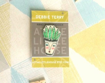 Cacti Brooch , shrink plastic hand drawn , one off , succulents , cacti in pot, stocking filler , christmas gift