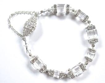Swarovski Crystal And Rhinestone Cube Bracelet