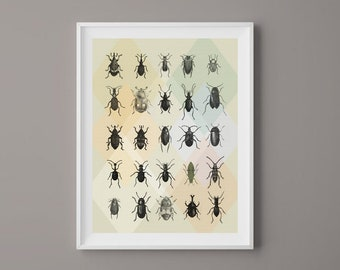 Wall Decor, Geometric Bugs. Printable art, Digital Download, Prints Art, Inspirational Quote, Lady Bug, Insects, Black and White.