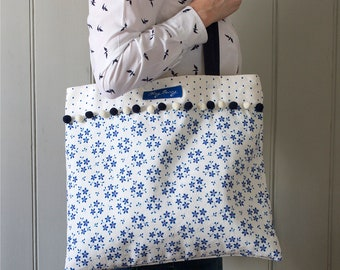 Blue Linen Union Ditsy Floral and Polka Dot Tote Shopping Bag with Pom Pom Trim