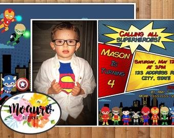 Super Hero Comic Book Birthday Invitation - Digital Proof & Print