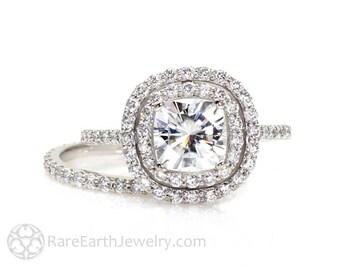 Moissanite Double Halo Ring Wedding Set Cushion Moissanite Engagement Ring & Wedding Band 14K or 18k Gold Conflict Free